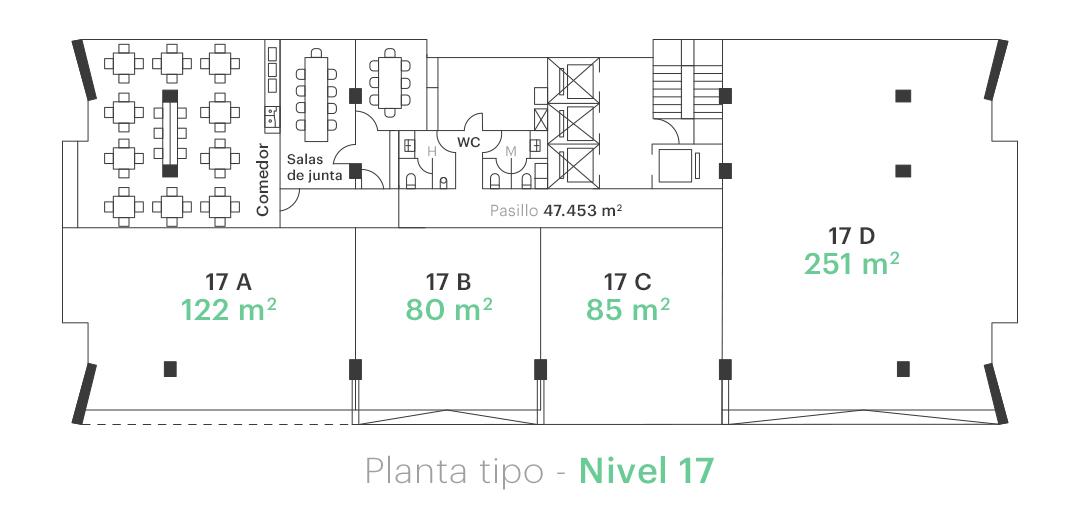 Planta tipo - Nivel 17